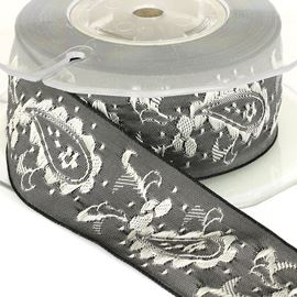 Paisley Embroidered Ribbon - Grey. 32mm