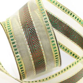 Chevron Shimmer Ribbon. Gold, Green & Red. 64mm