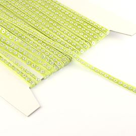 Skinny Velvet Sequin Trim - Lime. 7mm