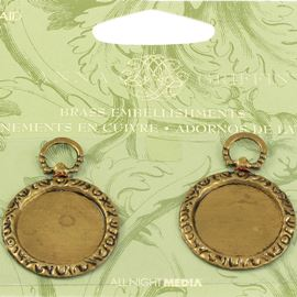 Anna Griffin Round Picture Frame Brass Embellishments.