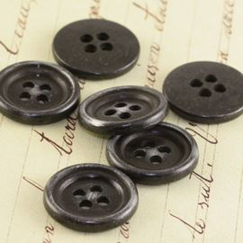 Flat Button - Vintage Matte Black 17mm