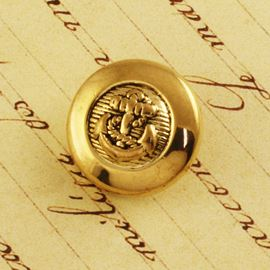 Anchor Button. Gold. 18mm / 28 Ligne