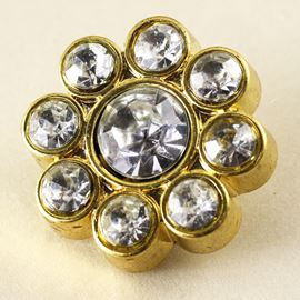 Gem Stone Flower Button. Crystal & Gold. 23mm / Ligne 36