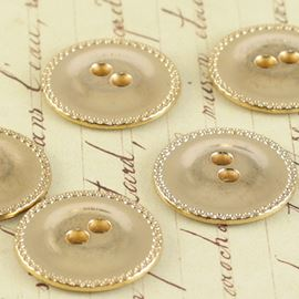 Vintage Flat Button - Gold 22mm