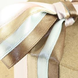 Satin Stripe Ribbon - Pink/Camel/Blue. 32mm