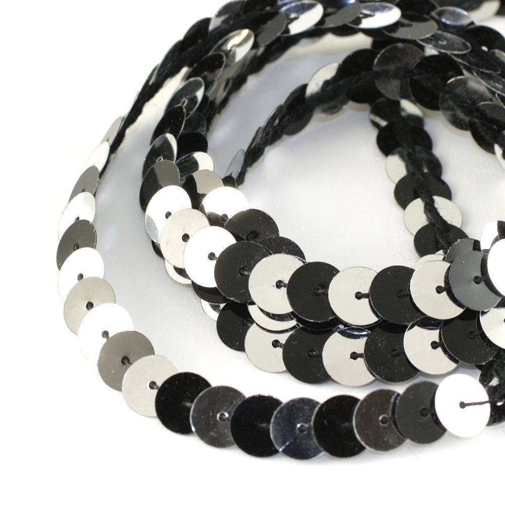 Strung Sequins. 8mm. Glossy Black & Metallic Silver