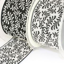 Reversible Willow Ribbon - Silver & Black. 50mm