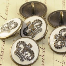 Enamel Brass Military Button - Cream 20mm