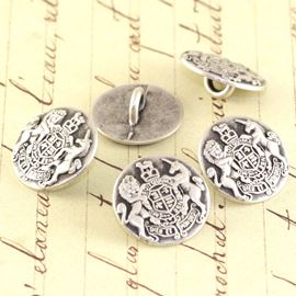 Mini Royal Crest Military Button - Silver 15mm
