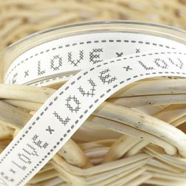 Cross Stitch Love Ribbon - Black/Natural. 15mm