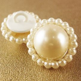 Pearl Dome Button. 17mm / 27 Ligne