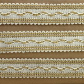 Entwined Tracks Trim. 20mm. Gold & White