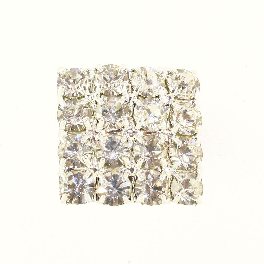 Square Shape Diamante Button