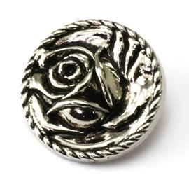 English Rose Button. Silver. 25mm / Ligne 39