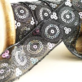 Catherine Wheel Sequin Trim, Black, 38mm