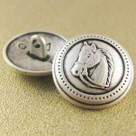 Horse Head Button. Silver. 20mm / Ligne 32