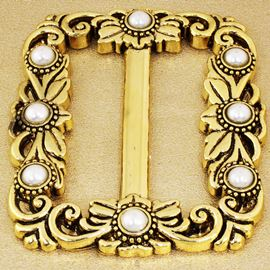 Tudor Buckle. Gold & Pearl. 70mm X 85mm