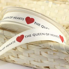 Queen Of Hearts Natural Ribbon - 15mm