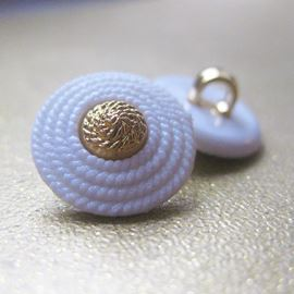 Coiled Rope Button. Gold/White. 15mm / 23 Ligne