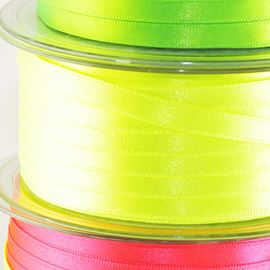Double Sided Satin - Fluorescent Yellow 7mm