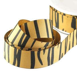 Grosgrain Print Ribbon - Tiger 39mm
