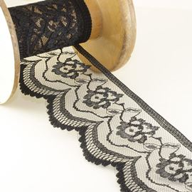 Rose Raschel Lace Edging - White 65mm