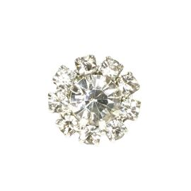 Flower Shaped Diamante Button. 11mm