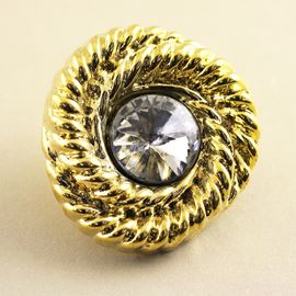 Ammonite Crystal Button. Gold. 25mm/Ligne 39