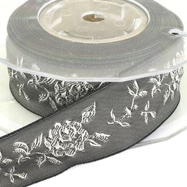 Jacquard Rose Ribbon - Grey. 25mm