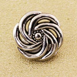Catherine Wheel Button - Antique Silver. 15mm / 23 Ligne