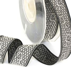 Art Deco Embroidered Ribbon - Black/Silver. 20mm