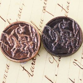 Cave Painting Button. Antique Copper & Bronze. 23mm / Ligne 36