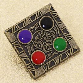 Hieroglyphic Button. Gunmetal. 25mm / 40 Ligne