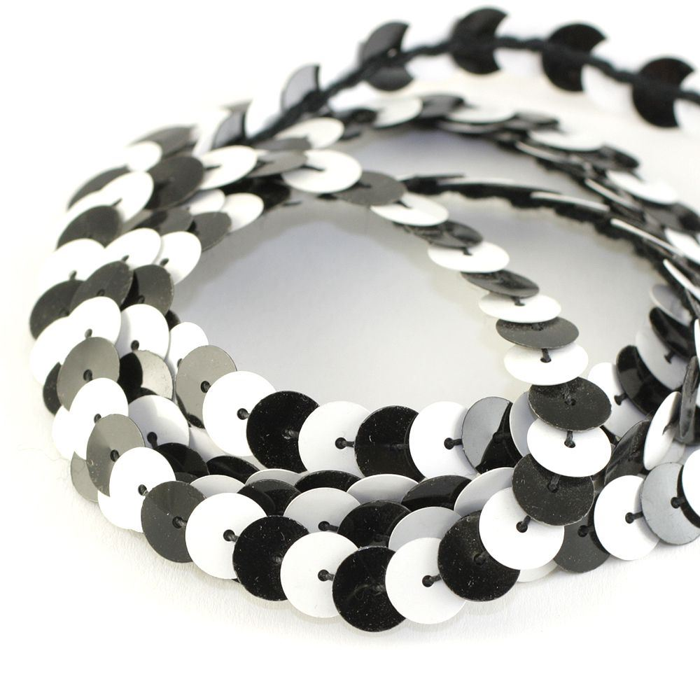 Strung Sequins. 8mm. Glossy Black & Glossy White