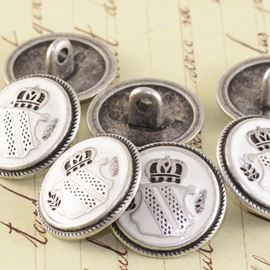 Enamel Military Button - White 20mm