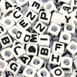 Alphabet & Hearts Cube Beads - 160pc. 6mm White