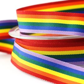Rainbow Grosgrain Ribbon. 15mm