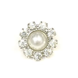 Diamanté Flower & Pearl Button. Antique Silver - 11mm