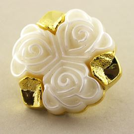 Trio Rose Bouquet. Gold & White. 25mm / Ligne 39