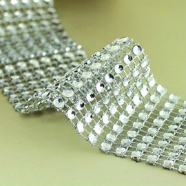 Faceted Mesh Trim. 38mm. Silver