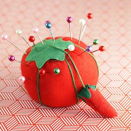 Shabby Chic Tomato Pin Cushion - Red