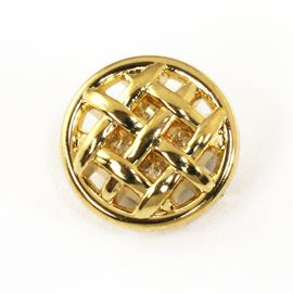 Weave Button. Gold. 15mm / 23 Ligne