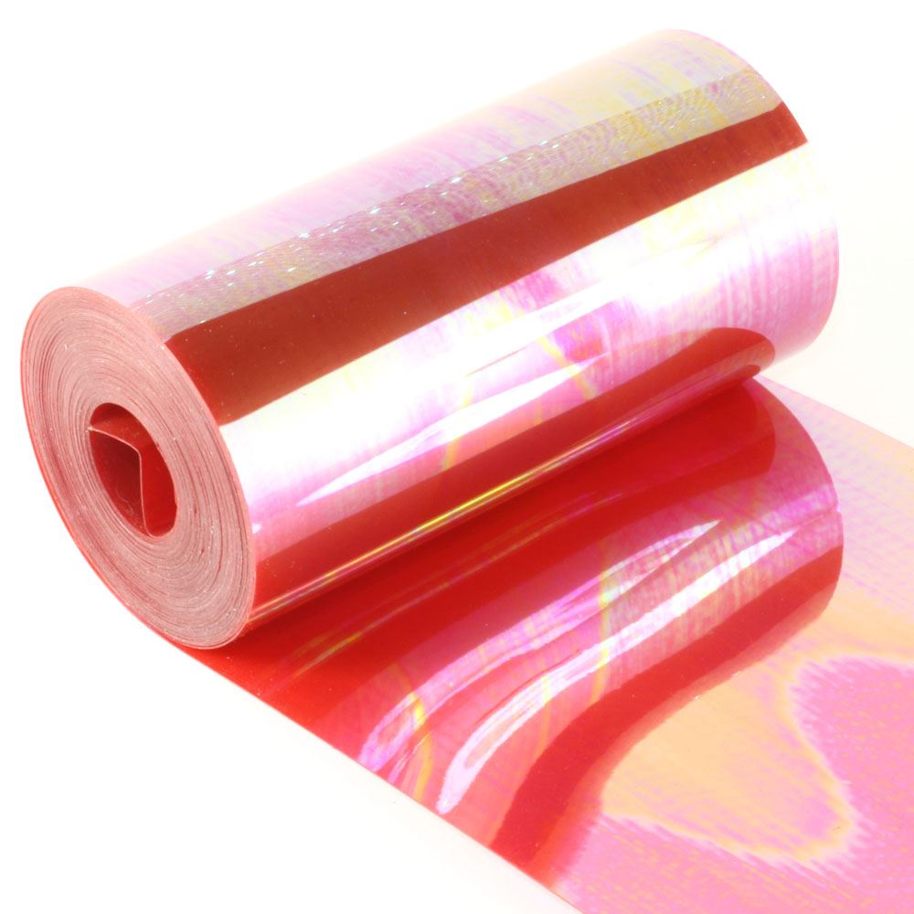 Clear Rainbow Red Sequin Film. 5m Roll