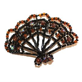 Topaz Seed Bead Fan Brooch