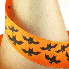 Halloween Bats Ribbon - Orange & Black. 25mm