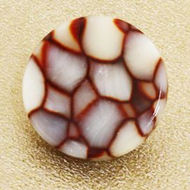 Snake Skin Button. Brown. 19mm / Ligne 30