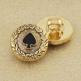 Spade Button. Antique Gold. 15mm / Ligne 23