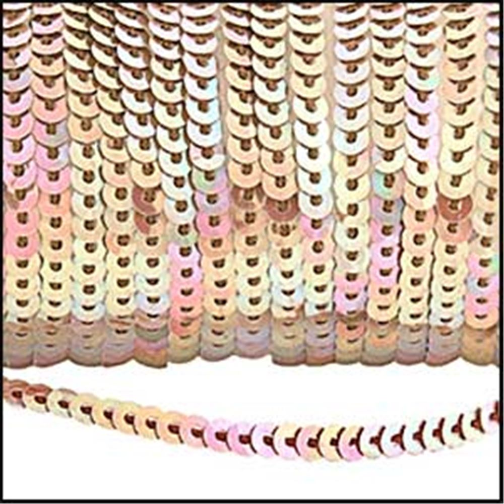 Strung Sequins. 3mm - Glossy Fawn