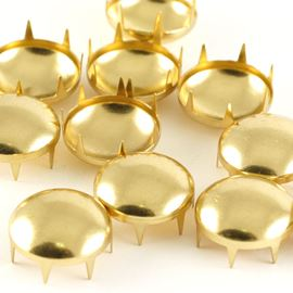 Shiny Round Dome Claw Stud.  17mm.  Vintage Gold