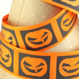 Halloween Pumpkin Ribbon - Orange & Black. 25mm